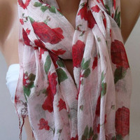 Red  Flowers  - Elegance Shawl - Scarf-soft and light--