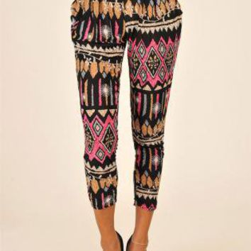 Folded Waist Skinny Pant with All Over Colorful Pattern