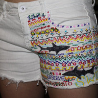 Custom Made tribal print SHARK themed denim shorts