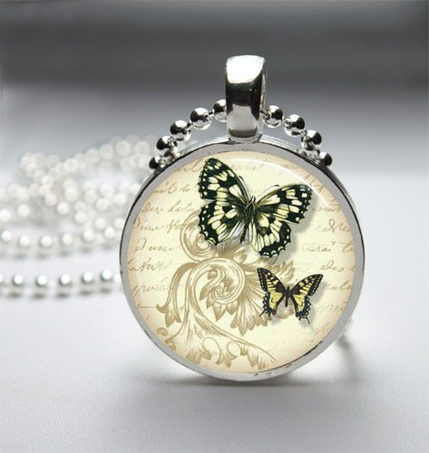 Butterfly Glass Tile Bezel Round Pendant Necklace