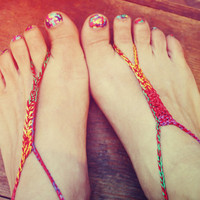 Handmade Thin Bohemian Red Crochet Barefoot Sandals, Hippie Foot Thongs, Wrap Anklets, Aztec, Tribal, Summer, Beach