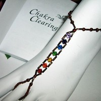 Bronze Beaded Chakra Barefoot Sandals Foot Jewelry
