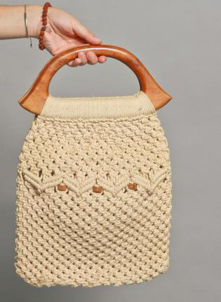 Vintage 70s 1970s Crochet Hand Bag with Wooden Handle