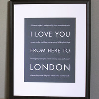 LONDON OLYMPICS SALE, I Love You From Here To London, 8x10, Choose Color, Unframed