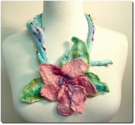 Faerie Garden Necklace. Felt flower fashion bib.