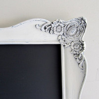 WEDDING CHALKBOARD Wedding Sign MAGNETIC White Distressed Framed Chalk Board Menu Kitchen Magnet Board Shabby Chic Vintage Style