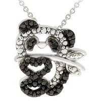 Sterling Silver Diamond Accent Panda Bear Necklace - Black