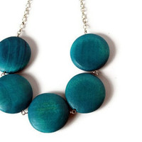 Teal Round Chunky Bead Necklace. Big Round Blue Wood Beads.