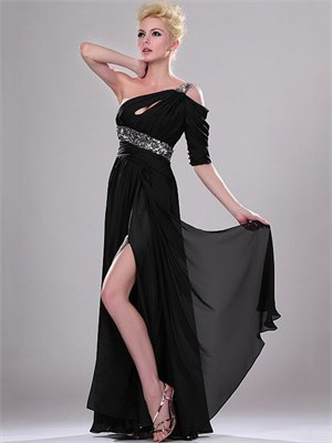 Black One Shoulder Empire with Sequins and High Slit Floor Length Chiffon Prom Dress PD1937
