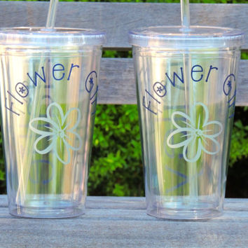 Flower Girl cups, Bridal party tumbler, acrylic cup, stocking stuffer, personalized tumbler, wedding cups, monogrammed cup, bridesmaid cup