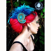 Odalisque Turquoise Paisley Feather Fascinator by MoonshineBaby