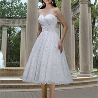 A-line Sweetheart Knee length  applique lace wedding dress WD2131