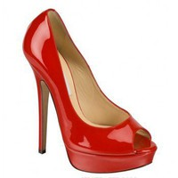 Jimmy Choo red parent Vibe peep-toe platform pumps