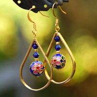 Gold And Blue Cloisonne Teardrop Ea.. on Luulla