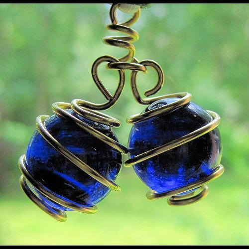 Cobalt Blue Balls Sun Catcher Wrapped in Golden Bronze Wire