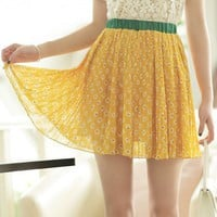 Women Chiffon Elastic Waist Pleating Yellow Cute One Size Dress@MF9854y - $14.68 : DressLoves.com.