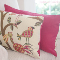 Tropical Decor Beach Birds Pillow Cover 16 x 26 Lumbar leaves branches cream berry fabric