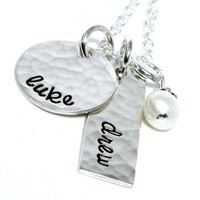 Hand Stamped Jewelry - Personalized Mom Necklace