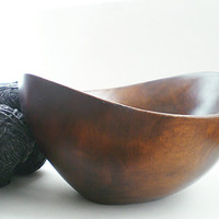 Wood Bowl Large Organic Wooden Serving Bowl 1960s