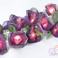Old Purple Rose Flower Lights For Bedroom and Night Decoration 20 Lights /Set