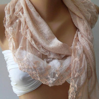 Salmon Pink -- Elegance  Shawl / Scarf with Lacy Edge---