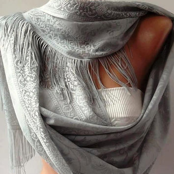 Grey Elegance and Lace Shawl / Scarf Pareo----