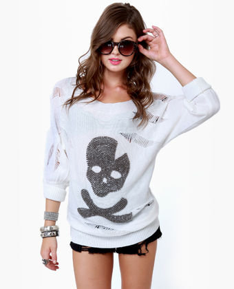 Cute Beaded Sweater - Ivory Sweater - Shredded Sweater - $49.00