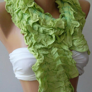 Elegance Shawl / Scarf with Lace Edge--