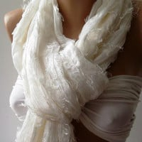 Ivory  Beige - Silk -  Elegance Shawl / Scarf-