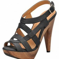 BLACK PEEP TOE CUTOUT DESIGN SANDAL @ KiwiLook fashion
