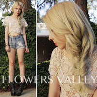 SALE - Alice in Wonderland Floral Crochet Lace Top