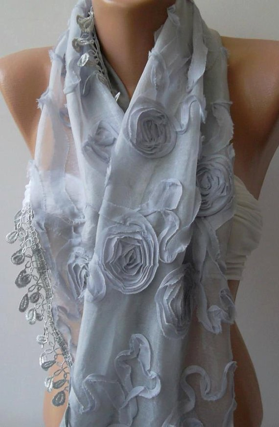 Grey/ Roses/Lace and Elegance Shawl / Scarf.