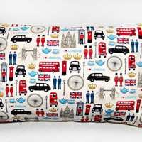 London cushion cover, UK bus, taxi, union jack,  12 x 20 inch pillow cover