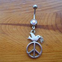 Belly Button Ring - Peace Sign Belly Button Ring
