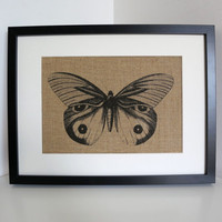 Burlap Wall Art- Vintage Butterfly Print Hessian Wall Decor