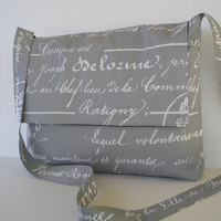Messenger Bag / Crossbody Bag / Laptop / iPad / Diaper bag in Grey Script