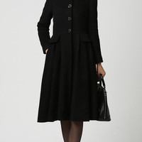 Black coat women wool coat winter warm coat (1125)
