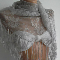Grey / lace and Elegance Shawl / Scarf - with Lace Edge