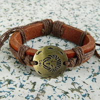 12 animal zodiac leo Antique copper Adjustable bracelet  bracelet Cowhide Leather hipster jewelry leather bracelet