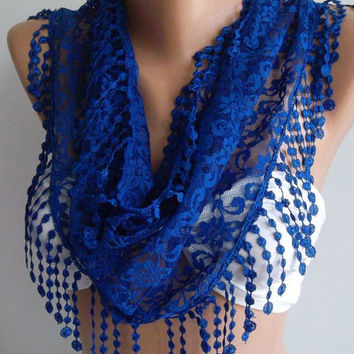 ON SALE /Cobalt - Elegance  Shawl / Scarf with Lacy Edge
