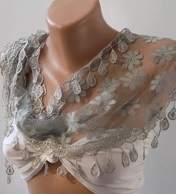 Elegance Grey Shawl - Scarf with Lacy Edge,,,.