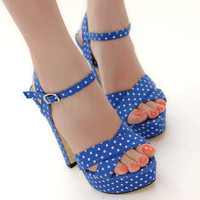 YESSTYLE: 59 Seconds- Polka-Dot Cross-Strap Platform Sandals - Free International Shipping on orders over $150