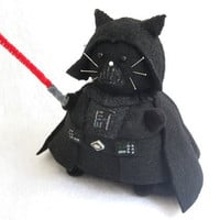 Star Wars Darth Vader Cat Pincushion cute felt kitty cat collectable or gift for animal lover...MADE-TO-ORDER