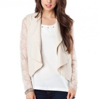 Morrow Blazer in Ivory Lace - ShopSosie.com