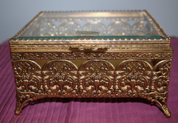 Vintage Jewelry Box Filigree Gold Plated Beveled Glass 1950s Decor