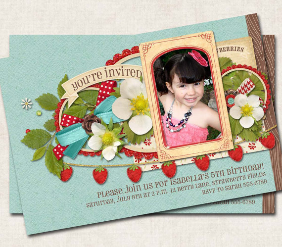Strawberry Birthday Party Invitation, blue red, picnic, digital file, you-print