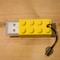 2GB Yellow Lego Brick USB Flash Drive with tiny lanyard