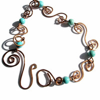 Copper and Turquoise Hammered  Metal work bracelet