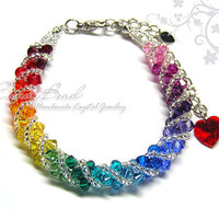 Spectrum rainbow twisty Swarovski Crystal Bracelet by CandyBead