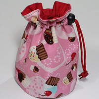 Cupcake Round Bottom Drawstring Bag